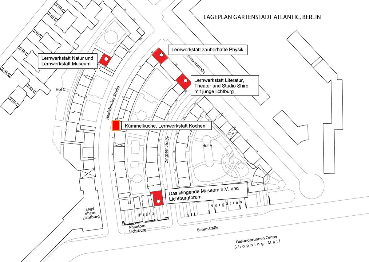 Lageplan der Lernwerkstätten
